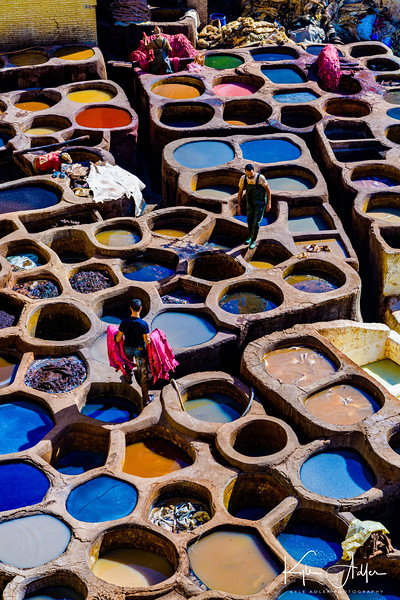Traditional dyeing process at a tannery in Fez.