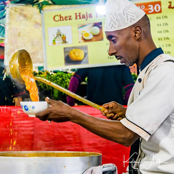 Delicious local soup on Djamae El Fna Square in Marrakesh.