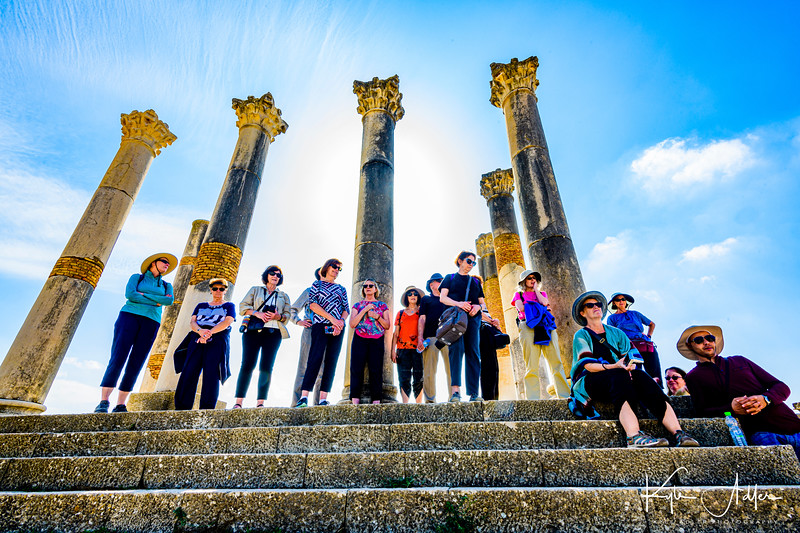 Group capture among the ruins of a temple at Volubilis.