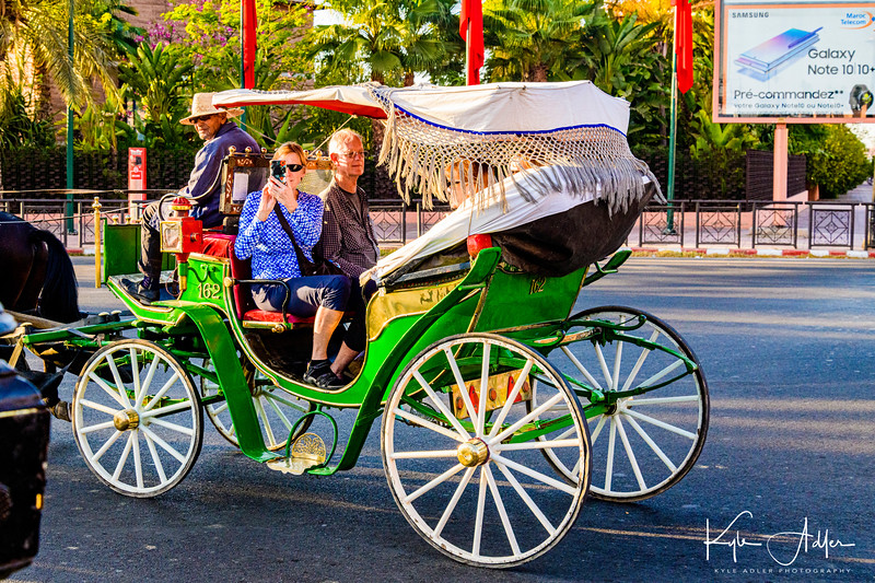 On arrival in Marrakesh, we toured the new town by horse drawn carriages.