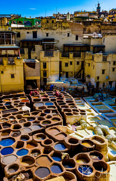 Traditional dyeing process at a tannery in Fez.  Traditional dyeing process at a tannery in Fez.  The tannery staff take pride in continuing to employ natural methods vs. the chemical processes used by most modern tanneries.