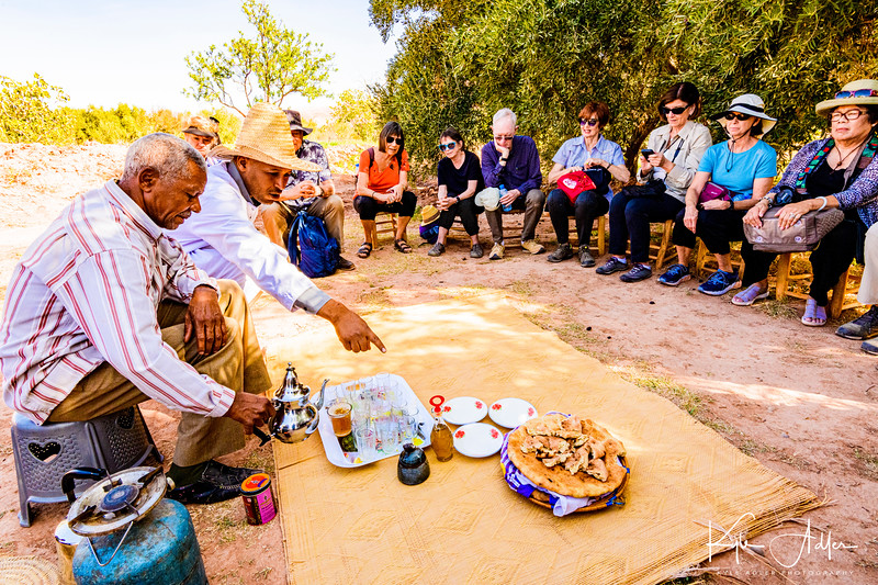 """We hiked out to a nearby field to have a traditional """"second breakfast"""" of tea, bread, and olive oil."""