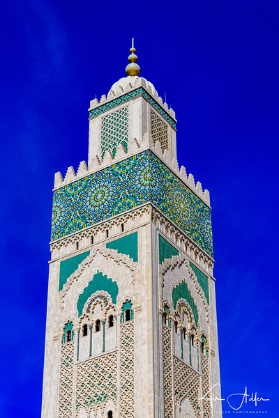 The minaret of the Hassan II Mosque in Casablanca.