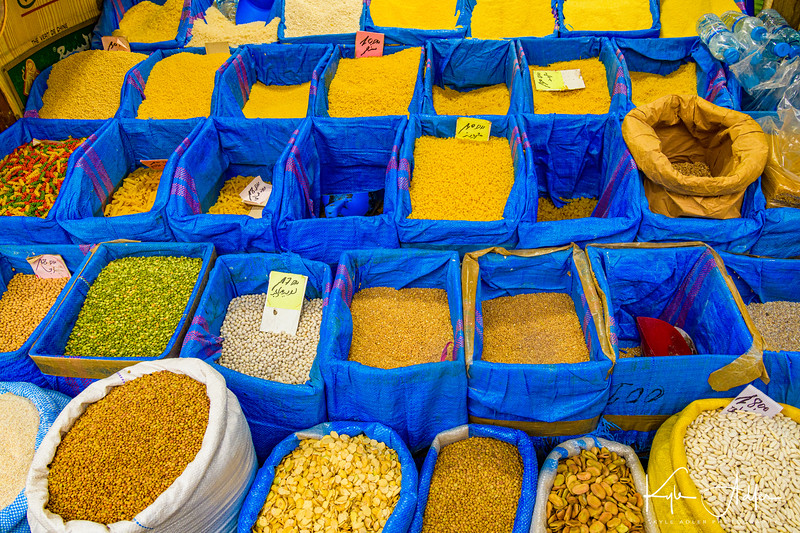 A vendor's stall at the spice market in Fez medina.