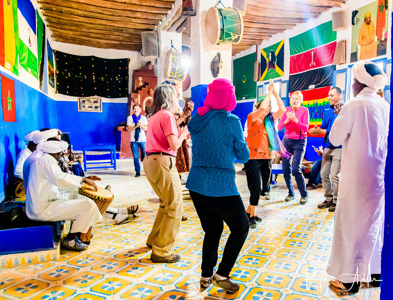 Our group joins in the Gnawa dance.