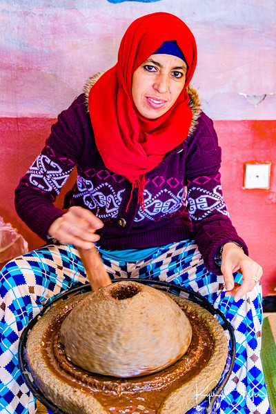 Learning about the making of argan oil health and beauty products at a women's cooperative in the Atlas Mountains.