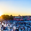 Panoramic view at sunset over Djamae El Fna Square, a UNESCO World Heritage Site in the heart of Marrakesh.