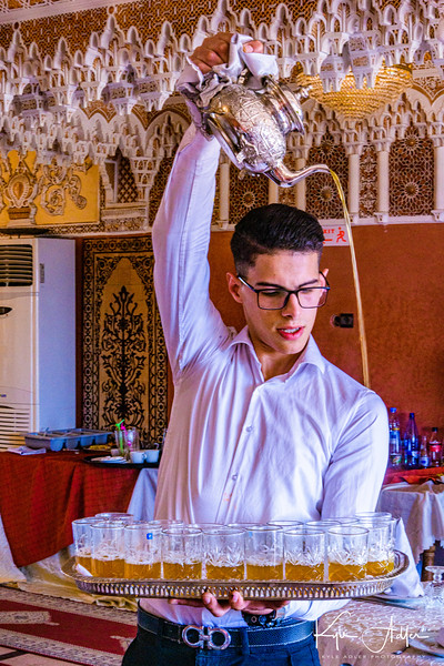 Another bravura execution of tea-pouring at our lunch in Meknes.