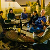 Our group enjoys a nightcap on the roof of our riad in Fez.