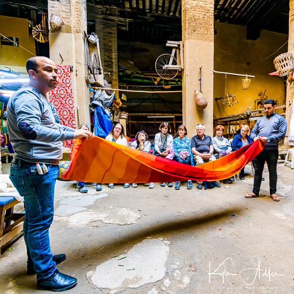 A weaving demonstration at the site of an ancient caravansary (rest stop along the trade routes where camels were fed and sheltered on the ground floor while their people were taken care of on the upper floors).