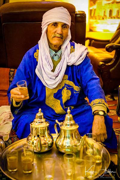 On arrival at our kasbah hotel in Erfoud at the edge of the Sahara Dessert, we are served sweet mint tea.
