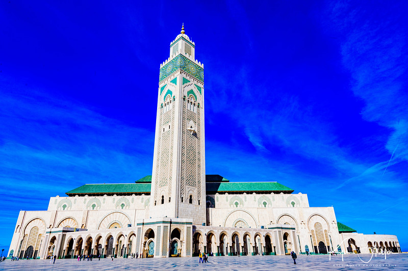 The Hassan II Mosque in Casablanca is the world's third largest mosque, accommodating 105,000 worshipers.  Only the mosques in Mecca and Medina are bigger.
