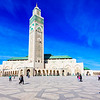 After she accepted his marriage proposal, a newly engaged couple embrace in front of the Hassan II Mosque in Casablanca.