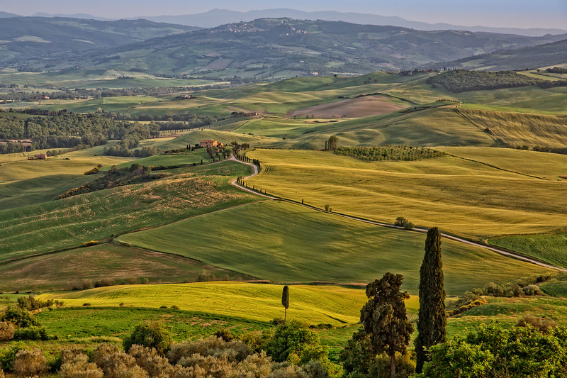 View of valley Val D`Orcia on sunset