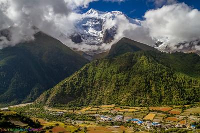 Annapurna Mastif Looms over Pisang, Nepal