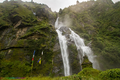 Waterfall, Prayer Flags, and Stupa