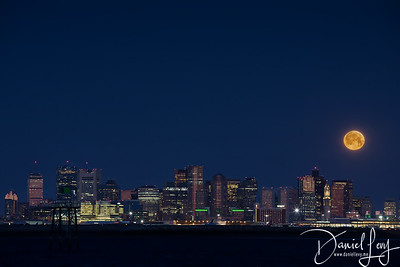 Moonset over Boston Skyline