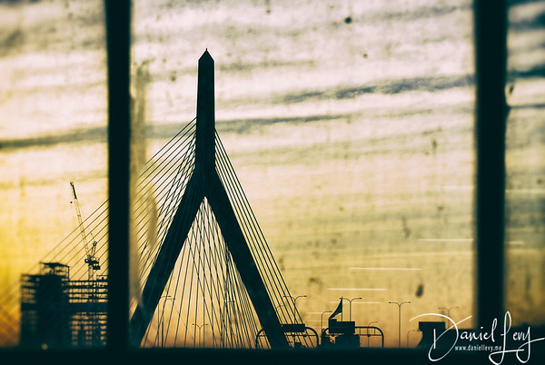 Zakim Bridge through a gritty window