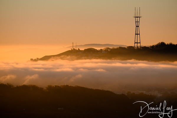 Sutro Tower - Sunrise - January 14, 2017 from Hawk Hill