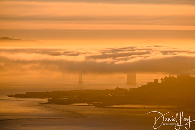 Bay Bridge (in Fog) - Sunrise - January 14, 2017 from Hawk Hill