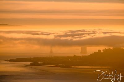 Bay Bridge (in Fog) - Sunrise - January 14, 2017 from Hawk Hill