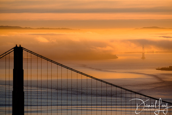 Two Bridges - Sunrise - January 14, 2017 from Hawk Hill