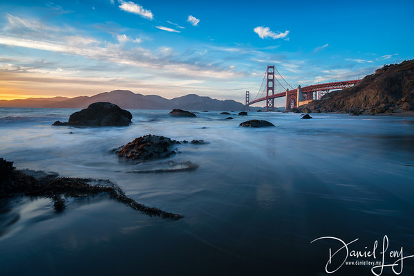Sunset from Marshall Beach with Golden Gate Bridge   San Francisco, CA