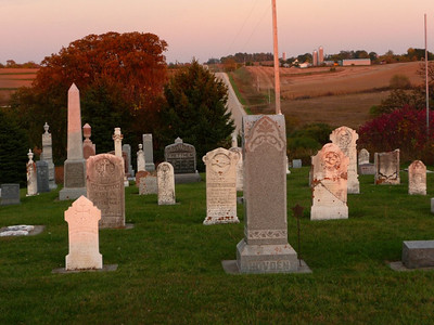 This is the cemetery of the Madison Lutheran Church a few miles west of Decorah