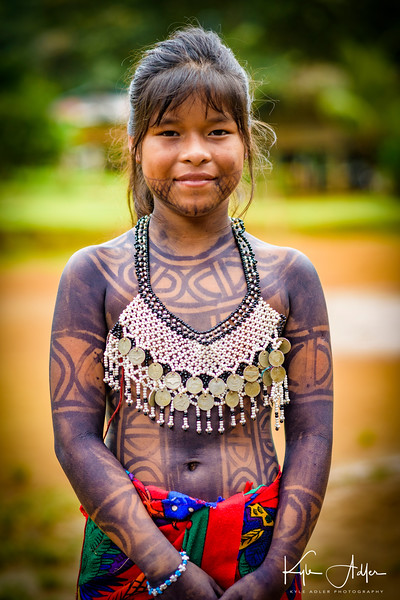Embera teen ready for the traditional dancing.