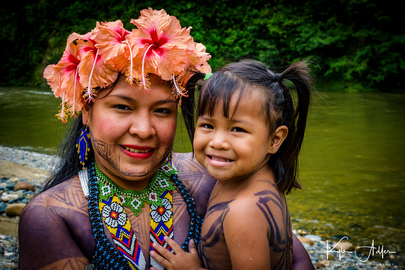This lovely Embera mom and daughter greet us on arrival at their village.