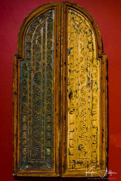 A lovely old carved wooden door in Panama City's Museo Panama Viejo.