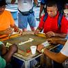 Friendly neighborhood game of dominos.