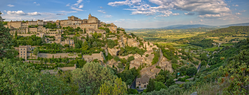 Panorama of Luberon Valley and Gordes at the sunrise