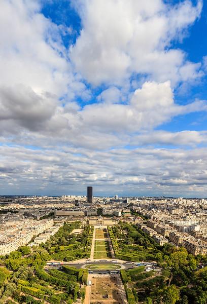 Vertorama of Paris view from Eiffel tower.