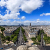 Panorama view of Paris view from Arc de Triomphe. France.