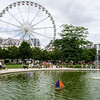 PARIS - JULY 20: A small park with lake in one of the parks in Paris as seen on July 20, 2015.