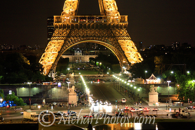 Eiffel Tower at night, Paris, France, July 2009.