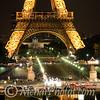 Eiffel Tower at night, Paris, France, July 2009.