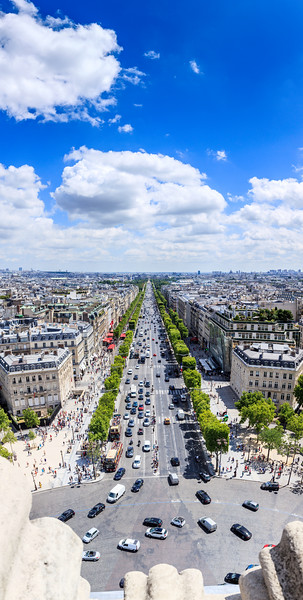 Vertorama view of Paris view from Arc de Triomphe. France.