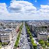 Vertorama view of Paris view from Arc de Triomphe. France.