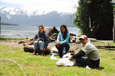 Seven-lake circuit, Bariloche district, Argentina - December 2005. Left-right: Maya, Lee and Me sitting for a quick lunch while Barak took our photograph