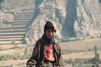 July 2005: Percy, a kid 12 year old, that Chris, Lee and Me met near the ruins of Ollantaytambo and helped us getting down from a quite tricky climb...