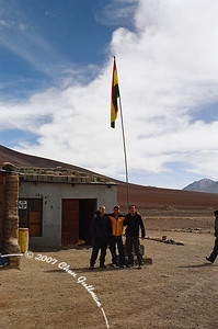 March 2005: At the border checkpoint between Chile and Bolivia, at the entrance to the southern part of Bolivia (on our way to the Salar de Uyuni). Right to left: Stefan, Me and Yossi