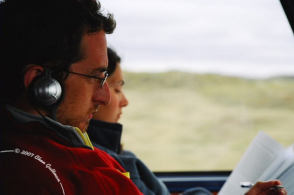 December 2005: In the bus, on our way to EL Calafate from El Bolson. Barak and Maya preoccupied