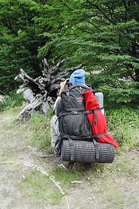 December 2005: Meet Barak's backpack, way-way too loaded with stuff...