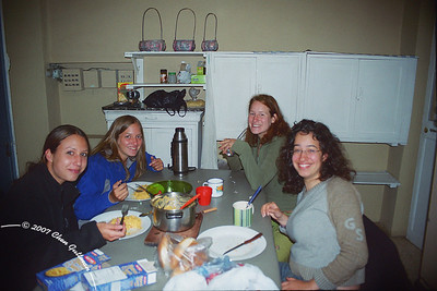 April 2005: In the kitchen of the Austria hostel, La Paz, Bolivia. You won't believe it, but that's PASTA inside that pot...Around the table (left to right): Elke (Germany), Agnes (Austria), Hanna (Austria) and Liran (Israel, what else??)