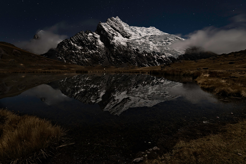 Reflections  Ausangate mountain range at night
