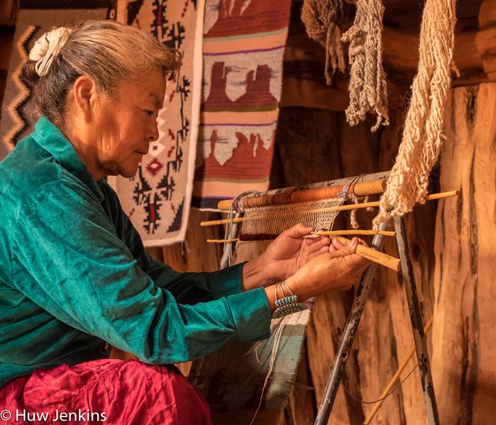 Navajo matriarch weaving