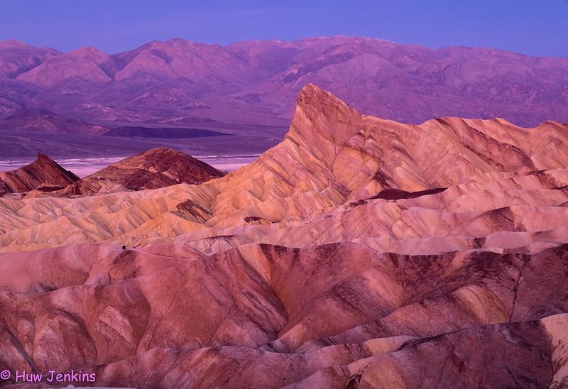 Pre-dawn light at Zabriskie Point; Death Valley