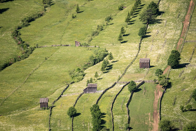 Cabins along the Romanian Hillside